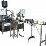 Фасовочно-упаковочный автомат карусельного типа «АЛЬТЕР-02», двухкарусельный с общим транспортером диаметр тары 130 мм и объемом дозирования до 1000 мл