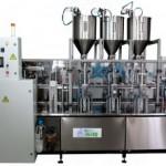 Фасовочно-упаковочный автомат линейного типа «АЛЬТЕР-02» для фасовки трехкомпонентных жидких и пастообразных продуктов в пластиковую тару